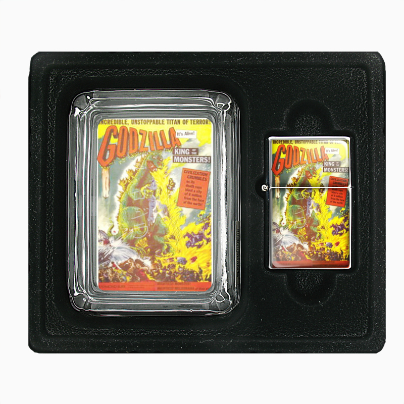 Primary image for Godzilla 1956 Movie Poster Glass Ashtray Oil Lighter Set 255