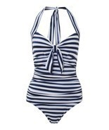 Seafolly Seaview Tie Front Halter Maillot - Indigo, Small 6/US, BNWT - €40,62 EUR