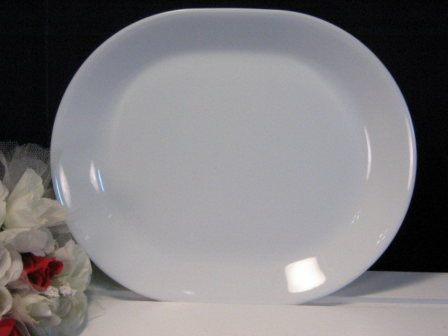 Primary image for Vintage Corelle Corning Ware Winter White Oval Serving Platter, 1960's Pyroceram