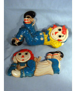 Vintage Set of Raggedy Ann Andy Wall Plaques, 1977 Bobbs Merrill Syroco ... - $29.99
