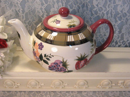 Vintage Oneida China Dinnerware Strawberry Plaid Teapot, Five Cup, Vintage 1990s - $24.99