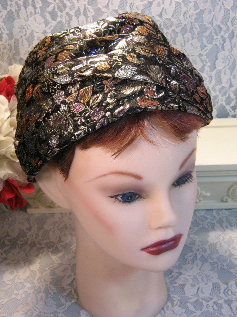 Primary image for Vintage 1960's Gold Black Brocade Turban Style Pillbox Jeweled Hat Women Ladies