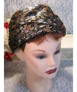 Vintage 1960's Gold Black Brocade Turban Style Pillbox Jeweled Hat Women... - $64.99