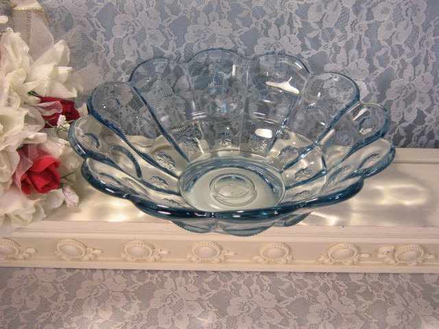 Primary image for Vintage Fenton Art Glass Blue Priscilla Console or Fruit Bowl, 1990s Glass