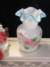 Vintage Fenton Art Glass Vase Case Glass Hand Painted Rose Pattern Vase, 1970s   - $24.99