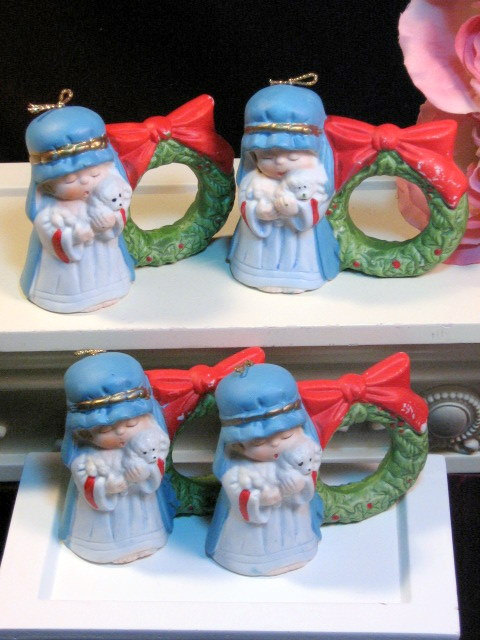 Primary image for Vintage Jasco Christmas Angel Bell Ornament Napkin Holder Set of Four