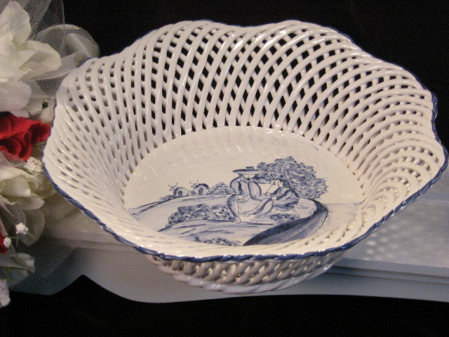 Primary image for Vintage Hand Painted Blue White Countyside Scene Portugal Lattice Bowl
