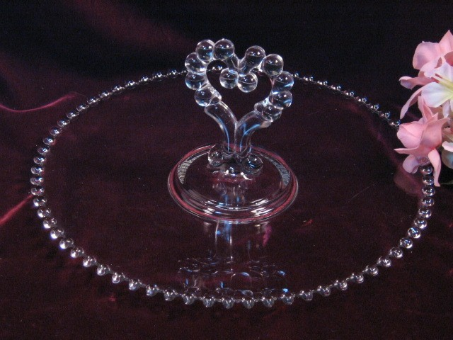 Vintage Imperial Glass Crystal Candlewick Heart Handled Pastry Tray, Elegant