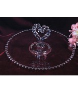 Vintage Imperial Glass Crystal Candlewick Heart Handled Pastry Tray, Ele... - $29.99