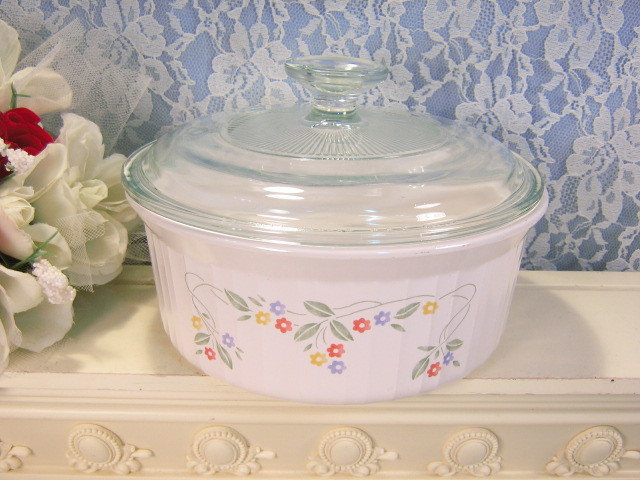 Primary image for Vintage Corning Ware French White English Meadow Pyroceram 1.6 Liter Casserole