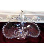 Vintage Imperial Glass Crystal Candlewick Basket #400/40/0, 1930s Elegant  - $42.99