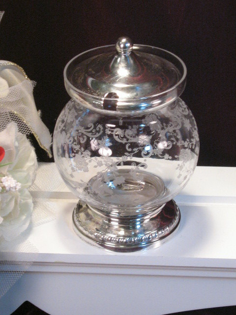 Primary image for Vintage Cambridge Etched Glass Chantilly Crystal Mustard Jelly Dish Sterling