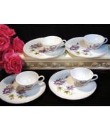 Vintage Lefton China Purple Violet Flower Snack or Lunch Set, 1960s Porc... - $44.99