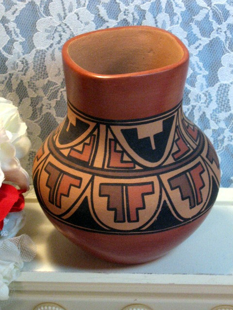 Primary image for Vintage Bertha Gachupin Jemez Native American Pottery Vase, 1970s Hand Made Vase