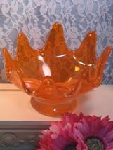 Vintage Murano Art Glass Orange Bowl Ruffled Type Edge Retro - $29.99