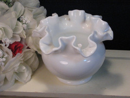 Vintage Fenton Glass Ruffled White Milk Glass Vase, 1950s Art Glass - $19.99