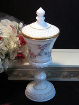 Vintage Handpainted Westmoreland Roses and Bows Milk Glass Covered Candy Dish - $99.99