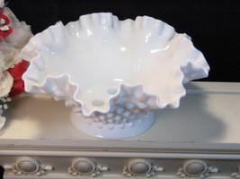 Vintage Fenton Hobnail White Milk Glass Three Light Candle Holder, 1950s... - $29.99