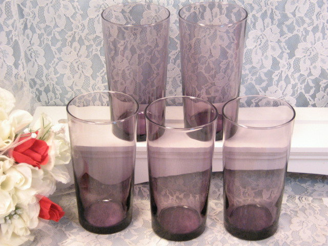 Primary image for Vintage Purple Glass Tall Flat Ice Tea Tumbler or Water Glass Set of Five