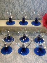 Vintage Cobalt Blue Crystal Footed Sherbet Glass Set of Nine, Mid Centur... - $49.99