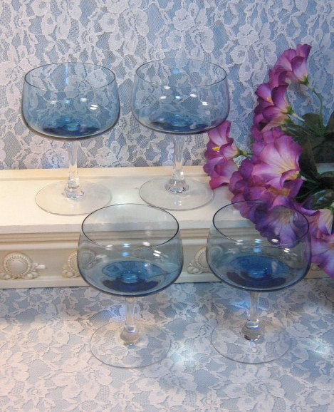 Primary image for Fostoria Glass Blue Glamour Tulip Stemmed Champagne Sherbet Glass Set of Four