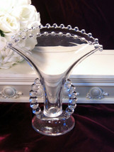 Vintage Imperial Glass Crystal Candlewick Fan Vase 400/87F, Open Side Ha... - $49.99