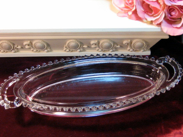 Vintage Imperial Glass Crystal Candlewick Crystal Oval Tray, Elegant Depression