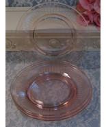 Vintage Pink Depression Elegant Glass Heisey Cambridge Etched Plate Set,... - $39.99