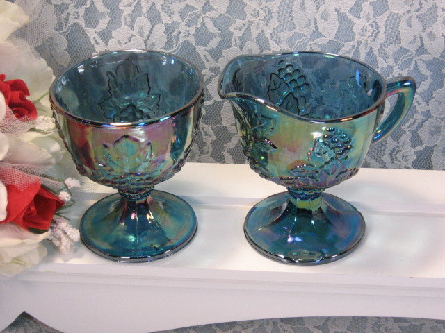 Primary image for Vintage Indiana Glass Purple Blue Harvest Grape Pattern Cream Sugar Set, 1970s