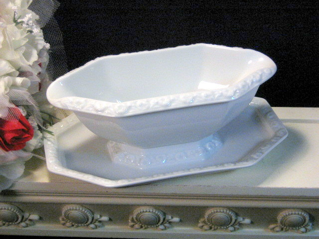 Primary image for Vintage Rosenthal Continentl Maria Gravy Boat Server White Floral, 1950s China