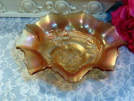 Antique Dugan Glass Apple Blossom Marigold Carnival Glass Bowl, 1930s Ar... - $49.99