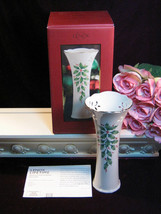 Vintage Lenox China Bud Vase Holiday Holly Porcelain Christmas Pierced V... - $29.99