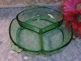 Vintage Cambridge Glass Green Depression Divided Relish Dish - $39.99