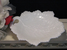Vintage Fenton White Milk Glass Handled Leaf Shape Plate, 1950s Depression Era  - $19.99