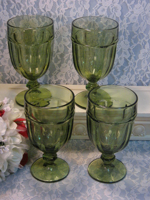 Primary image for Vintage Libbey Gibraltar Dark Green Footed Ice Tea or Water Tumblers or Glasses