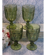 Vintage Libbey Gibraltar Dark Green Footed Ice Tea or Water Tumblers or ... - $79.99