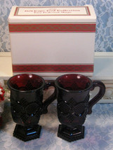 Vintage Avon 1876 Cape Cod Ruby Red Footed Pedestal Coffee Mugs Set of Two - $12.99