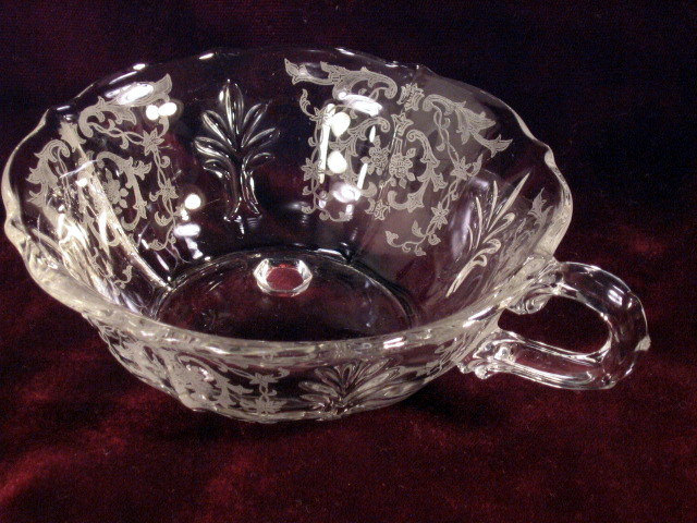 Primary image for Vintage Fostoria Glass Etched Crystal Navarre Handled Nappy Nut Dish