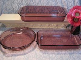 Vintage Corning Visions Pyrex Originals Cranberry Glass Cookware Baking 3 Piece - $145.99