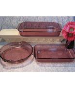 Vintage Corning Visions Pyrex Originals Cranberry Glass Cookware Baking ... - $145.99