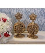 Vintage Stylebuilt Gold Ormolu Filigree Glass Cherub Angel Perfume Bottl... - $224.99