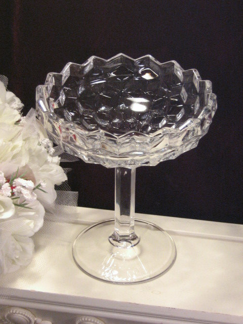 Primary image for Vintage Fostoria American Crystal Footed Tall Candy Dish or Compote, 1915 - 1980