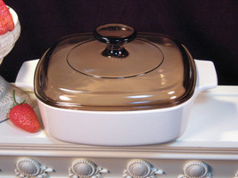 Vintage Corning Ware Beige Coupe 1 Liter Casserole, Brown Lid, Glass Coo... - $29.99