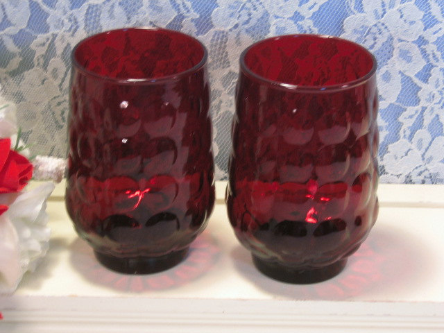 "Primary image for Vintage Anchor Hocking Ruby Red Bubble Tumbler or Glass, Set of Two, 4 1/2"" Size"