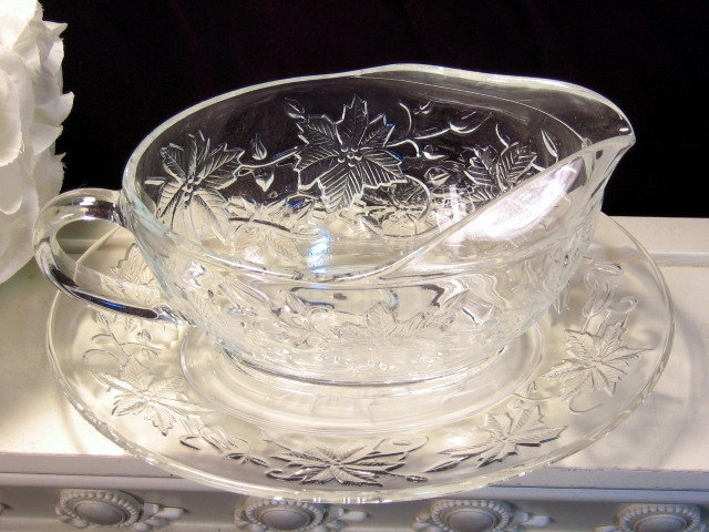Primary image for Vintage Princess House Crystal Fantasia Glass Gravy Sauce Server and Liner Plate