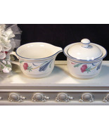 Vintage Lenox China Chinastone Poppies on Blue Cream and Sugar, 1980 Mid... - $49.99