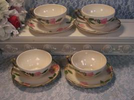 Vintage Franciscan Pottery Desert Rose Cup Saucer Set of Four, Made in U... - $49.99
