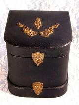 Antique Victorian Brass Trim Leatherette Black Collar Box, 1850 to 1890 ... - $199.99