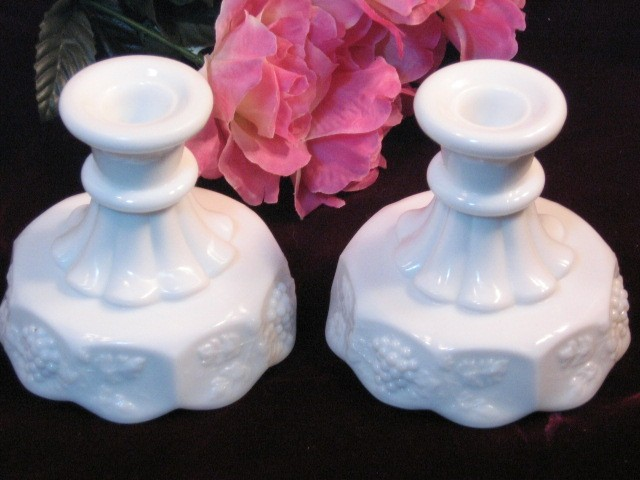 Primary image for Vintage Westmoreland Paneled Grape White Milk Glass Candle Holder Set, 1950's