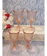 Vintage Rosaline Pink Swirl Arcoroc Durand Wine Glass, Set of Four, Vint... - $49.99